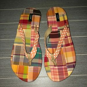 J Crew Madras Plaid Flip Flops Sandals 8
